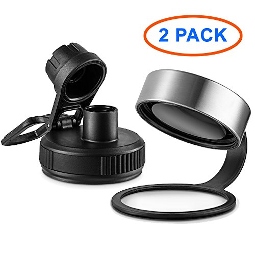 SWIG SAVVY Wide Mouth Sports Water Bottle Lid & Spout Cap – Easy Fit for Wide Mouth Flasks – 2 Pack (Steel Cap/Takey)