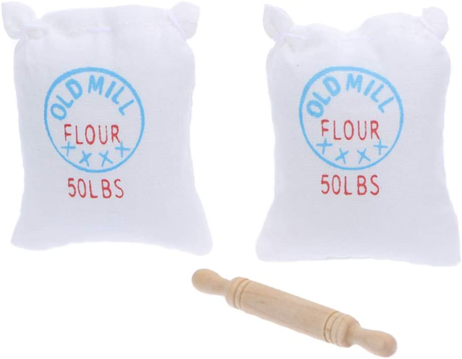 1:12 Dollhouse Miniature Furniture 2 Bag Flour Sack 1 Wooden Rolling Pin x3 ~