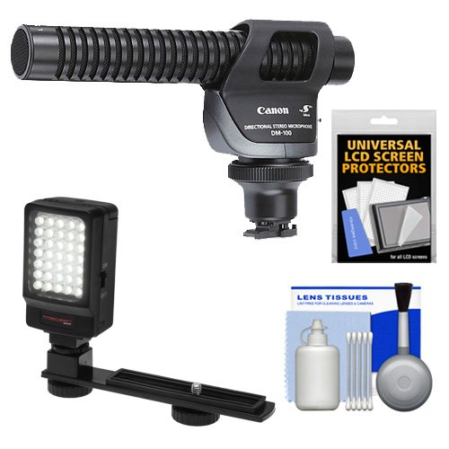 Canon DM-100 Directional Stereo Microphone with LED Light & Bracket + Cleaning Kit for VIXIA HF M52, M50, M500, M50, M400, M301, M300, M41, M40, M32, M31, M30, S30, S200, S21, S20, G10, G20 Camcorders Directional Stereo Microphone Dm100