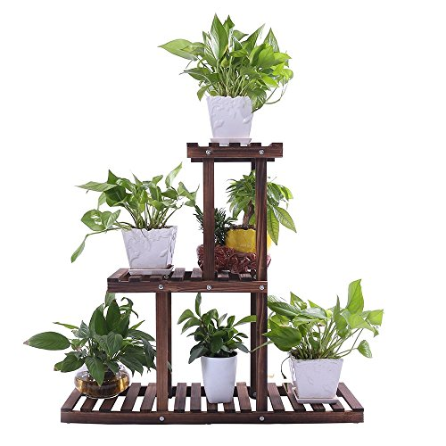 Cheap  Ufine Wood Plant Stand Outdoor Indoor 3 Tier Vertical Carbonized Multiple Planter..