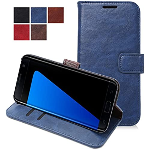 Samsung Galaxy S7 Edge Case - FanTEK Wallet Style PU Leather Hard Shell Stand Magnetic Cover (Dark Blue) Sales