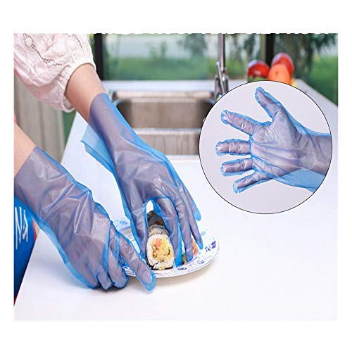 100 PCS Plastic Disposable Industrial Clear PE Gl0ves for Cooking Cleaning Food Handling BiuBuy (Blue)