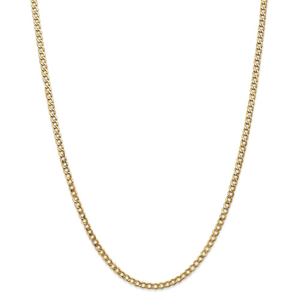 14k Gold Hollow Curb or Cuban Chain Necklace with Lobster Clasp 3.2mm