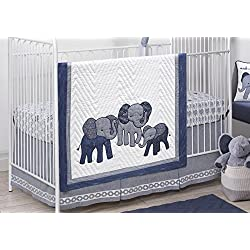 Lambs & Ivy 3-Piece Baby Boy Crib Bedding Set, Blue/White
