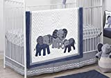 Lambs & Ivy 3-Piece Crib Bedding Set, Blue/White