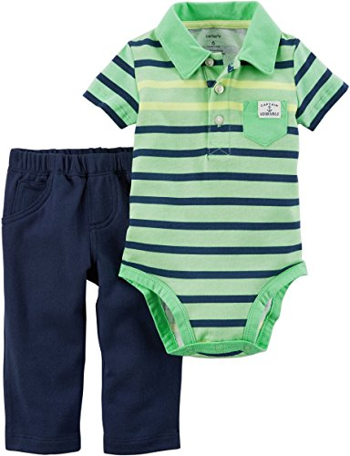 Carter's Baby Boys' 2 Piece Striped Neon Bodysuit and Pants Set 12 Months