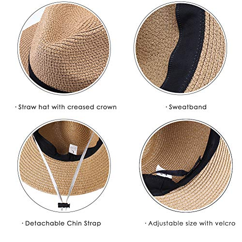 e60844a07d55a Womens Wide Brim Straw Panama Hat Fedora Summer Beach Sun Hat UPF50