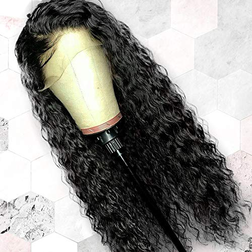 ENTRANCED STYLES Glueless Loose Curly Lace Front Wigs for Black Women Water Wave Synthetic Long Black Wigs Heat Resistant Fiber Hair 150% Density