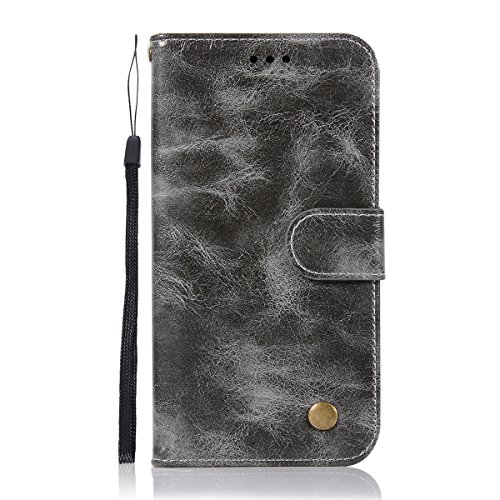 Funda Samsung Galaxy A8 Plus 2018 [Happon] Ranuras para Tarjetas y Billetera Carcasa PU Libro de Cuero Flip Leather Cierre Magnético Soporte Plegable para Samsung Galaxy A8 Plus 2018 (Vino Rojo) Gris