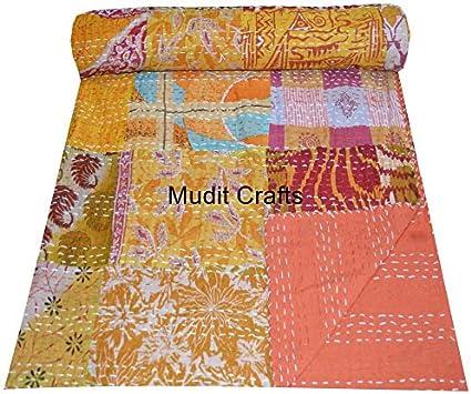 MUDIT CRAFTS Couvre-lit Indien en Patchwork Fait /à la Main en Coton Kantha Couvre-lit Gudari Patchwork 6, jumel