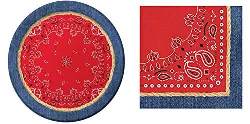 Bandanarama Western Rodeo Dinner Plates (16) and Napkins (16) Bundle]()
