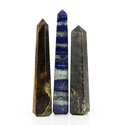 Beverly Oaks Large Crystal Obelisk Set Featuring Labradorite, Tiger Eye and Lapis Lazuli - Powerful Gemstone Healing ()