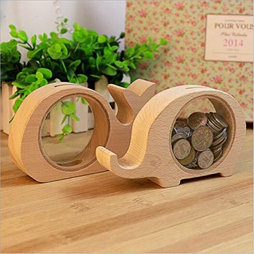 Diseño de dibujos animados lindo de madera hucha dinero de banco de la caja del ahorro niños de los niños de la moneda...