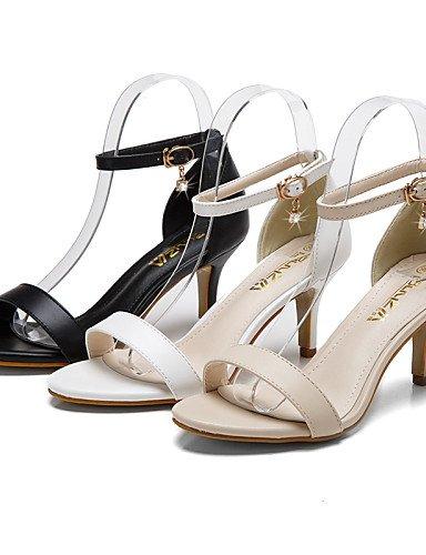 LFNLYX Zapatos de mujer-Tacón Stiletto-Tacones / Puntiagudos / Punta Abierta-Sandalias-Vestido-Semicuero-Negro / Blanco / Almendra almond