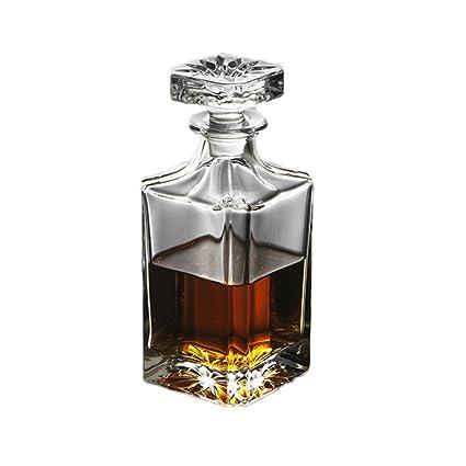 L&J Decantador De Cristal Libre Plomo De 700ml Con Tapa De,Vidrio Creativas Botellas De