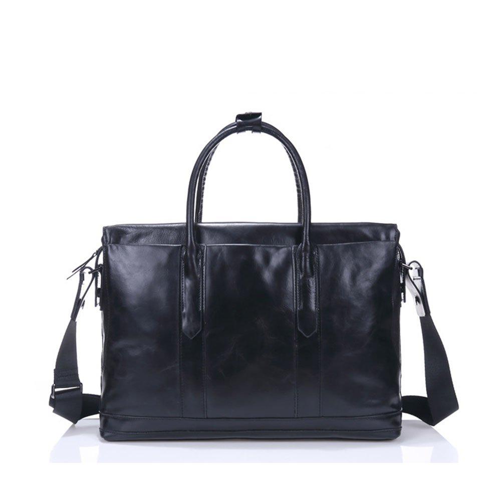 旅行バッグ スタイリッシュなシンプルさメンズレザーハンドバッグトラベルバッグレザービジネスラップトップバッグ スポーツバッグ トラベルバッグ (色 : ブラック)  ブラック B07P8VF265