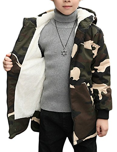 Down amp;S Children's Puffer 4 Coat Casual Jacket Outwear M Camouflage Hooded Thicken amp;W zUdEFqw