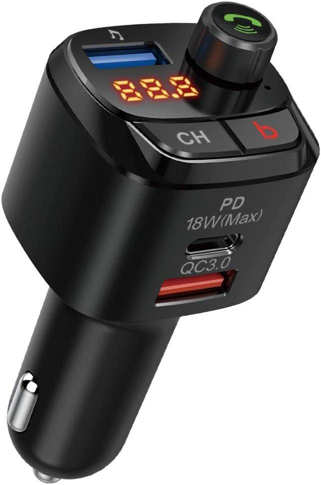 Nulaxy Bluetooth Coche Mechero, Transmisor FM Bluetooth para Coches : FM Mechero Bluetooth para Radio de Llamada Manos al Libre Kit de Coche, Cargador automático con 1 Puertos USB-A y USB-C PD