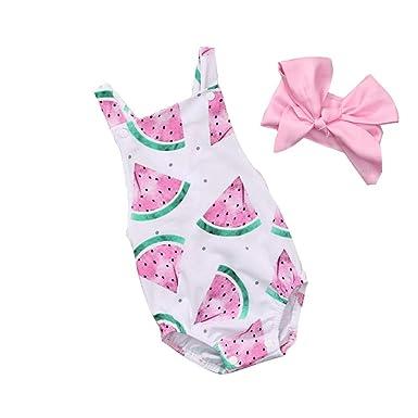 Wang-RX Verano Lindo para bebés niñas Mameluco Mono Diadema ...