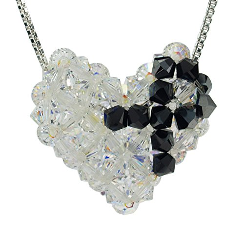 Sterling Silver and Swarovski Crystal Melanoma Awareness Woven Puffy Heart Necklace Swarovski Crystal Puffy Heart Pendant