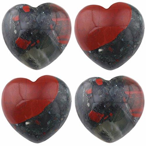 Mini Pocket Stone - rockcloud Healing Crystal Africa Bloodstone Heart Love Carved Palm Worry Stone Chakra Reiki Balancing 0.8