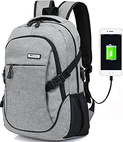 Trustbag a-001 Business Water Resistant Polyester Laptop Backpack with USB Charging Port and Lock Fits Under Laptop and Notebook, Grey