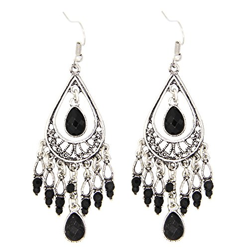 Fashion Chandelier Earrings For Women BoHo Dangle Indian Earrings EAG080 (Black)