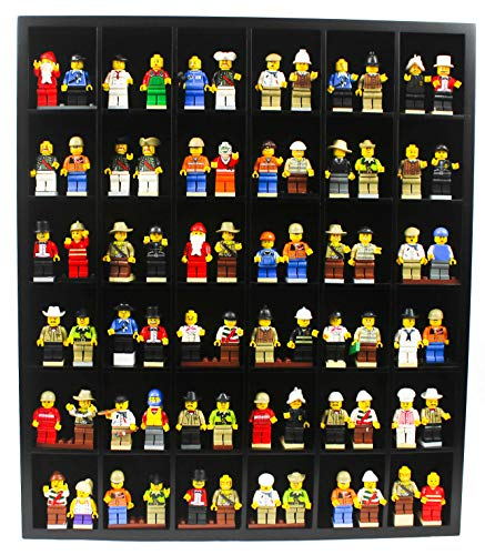 Wall Curio Display Case Cabinet Display Stand for Minifigures Dimensions - Black