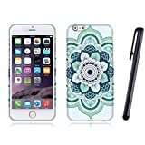 Fincibo (TM) Blue Flower Mandala Silicone Flexible Slim Fit Skin Soft TPU Gel Protector Cover Case For Apple Iphone 6 Plus 6S Plus 5.5 inch