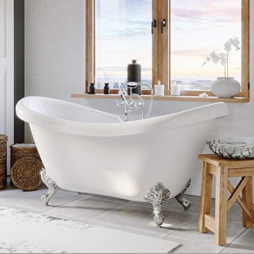 """68"""" Claw Foot Bathtub Acrylic Double Ended Slipper with 7"""" Faucet Hole Drillings & Chrome Feet-""""Harrison"""""""