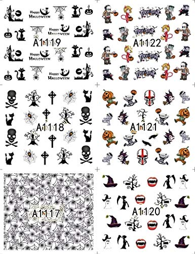 Halloween 12 Sheets Water Decal Nail Art Nail Sticker Decoration Slider Tattoo Full Cover -