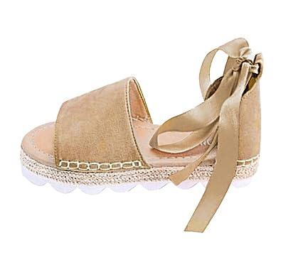 4d6c996854853f Minetom Sandales Femmes, Sandales Plat Solide Femme Chaussures Poissons  Bouche Sandale Randonnee Fermé Ado Fille