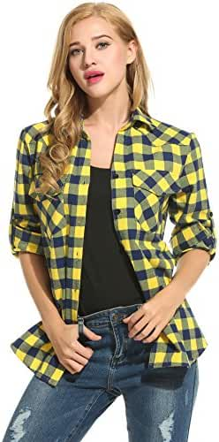 Zeagoo Women's Roll Up Sleeve Casual Loose Boyfriend Plaid Button Down Shirt
