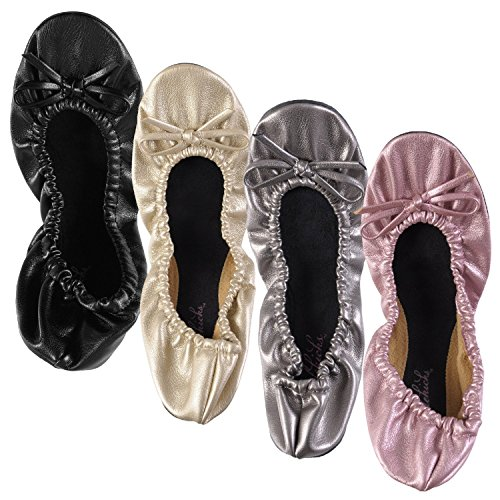 Sidekicks Opvouwbare Platte Balletschoenen Met Draagtas Klein Goud