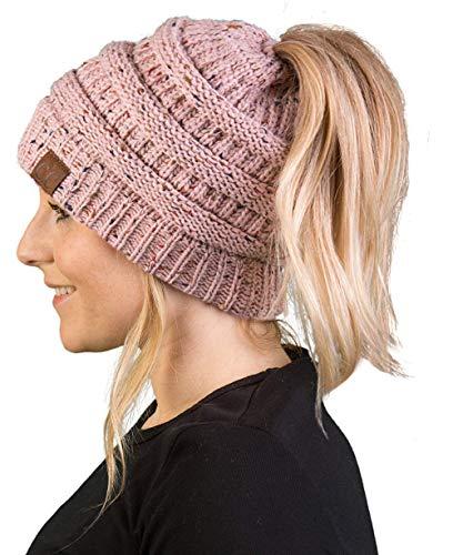 (BT-6800-3371 Messy Bun Womens Winter Knit Hat Beanie Tail - Indi Pink (Confetti))