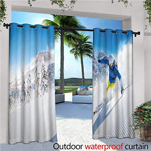Winter Outdoor- Free Standing Outdoor Privacy Curtain Skier Skiing Downhill in High Mountains Extreme Winter Sports Hobbies Activity for Front Porch Covered Patio Gazebo Dock Beach Home W84