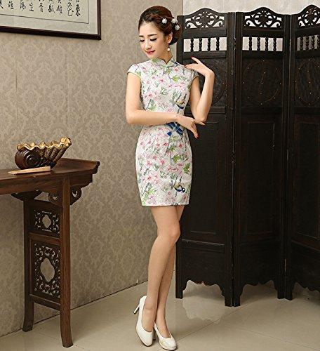 Luck Femme Chinois Robe/Qipao Moulante Motif Fleur et Oiseau en Polyester