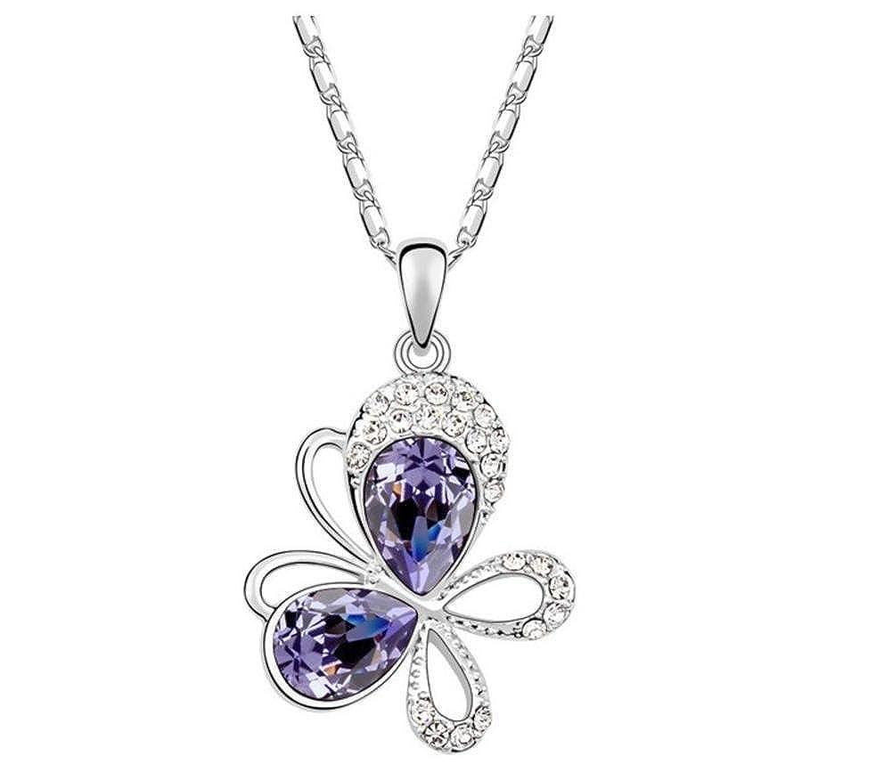 Ouxi 5A Austrian Crystal Necklace Sautoir Pendant Butterfly In Autumn Colour Purple