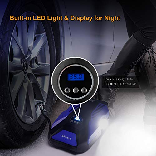 Akface 12V DC Portable Air Compressor Pump, Digital Tire Inflator Auto Tire Pump with Emergency Led Lighting and Long Cable for Car - Bicycle - Motorcycle - Basketball and Other by Akface (Image #4)