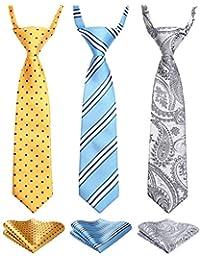 3pcs Boys Pre-Tied Neckties & Pocket Square Set Neck Strap Tie for Kids