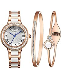 Women's Watch Bracelet Gift Set Crystal Accented Ceramic/Stainless Steel Rose Gold L68008RGGT