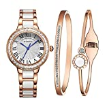 MAMONA Women's Watch Bracelet Gift Set Crystal Accented Ceramic/Stainless Steel Rose Gold L68008RGGT