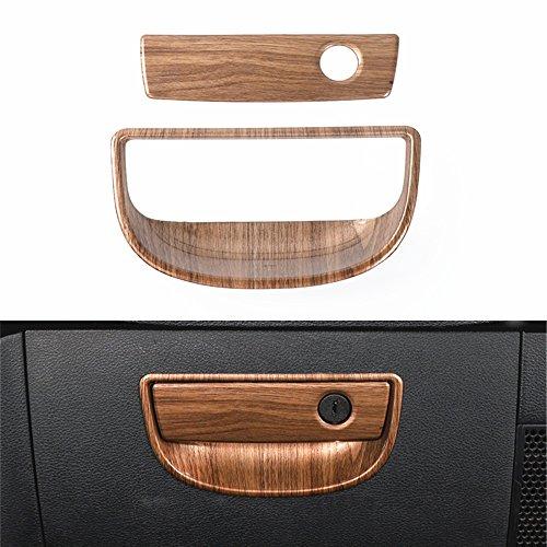 YOCTM Car Interior Copilot Storage Box Handle Sequins Trim Wood Grain Frame For Jeep Wrangler JK 2011-2017 Car Styling ()