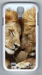 Two Male Lions Hard Cover Back Case For Samsung Galaxy S4,PC White Case for Samsung Galaxy S4 i9500