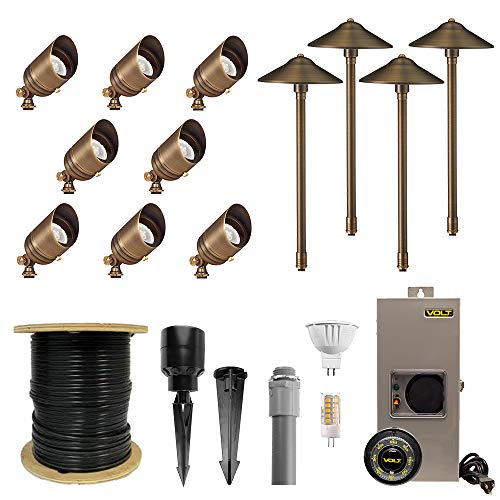 VOLT Lighting Complete Landscape Lighting Kit with Brass Spotlights, Brass Path Lights, Transformer, LED Bulbs, Cable, Stakes and Hub (8 Spotlights & 4 Path Lights, Brass)