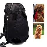 LEMONPET Dog Front Carrier Bag Adjustable, Legs Out, Pet Cat Dog Carrier Backpack for Walking, Traveling, Hiking, Camping, Bike and Motorcycle (Extra Large, Black)