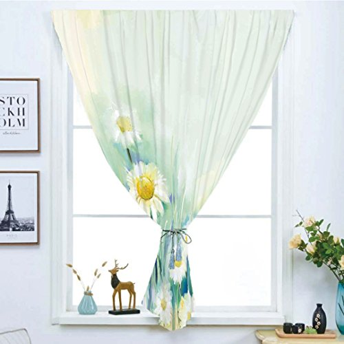 Daisies Soho Handmade (Blackout Window Curtain,Free Punching Magic Stickers Curtain,Watercolor Flower Home Decor,Daisies on Grass Mother Earth Icons Impressionist Print,Light Blue White,Paste Style,for Living Room)