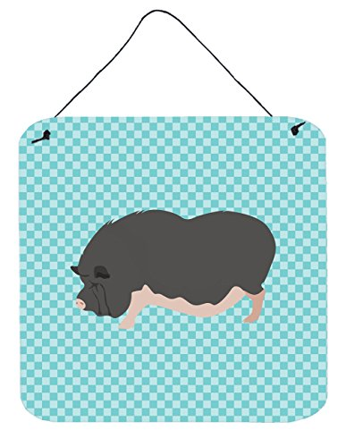 Caroline's Treasures Vietnamese Pot-Bellied Pig Blue Check Metal Print, 6