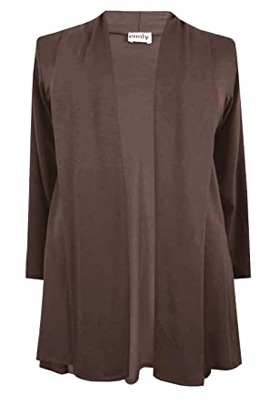 New Ladies Dark Brown Waterfall Jersey Plus Size Cardigan: Amazon ...