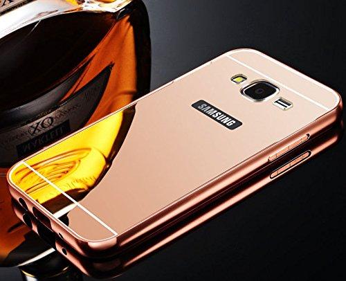 Samsung S6 Edge Case,Janacy Ultra-thin Luxury Aluminum Metal Mirror PC Back Case Cover for Samsung Galaxy S6 Edge Rose Gold